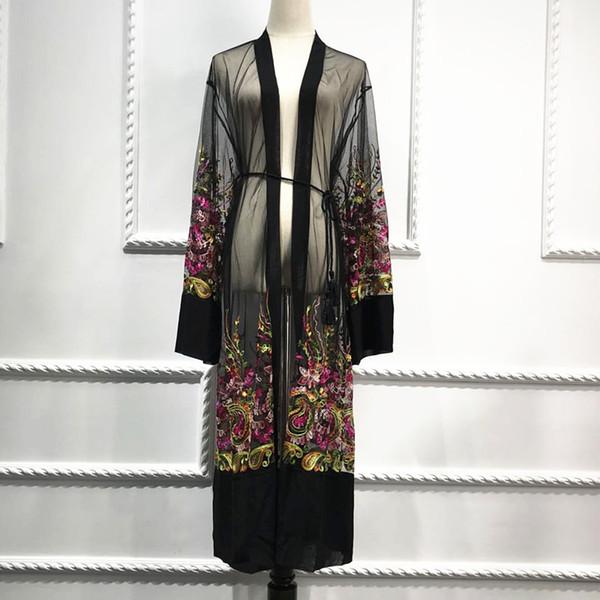 Плюс Размер Длинный Кимоно Mujer 2019 Sexy Abaya Мусульманские Женщины Цветочные Вышивка Шифон Сетка Кардиган Блузка Roupas Feminina Clothing C19040402