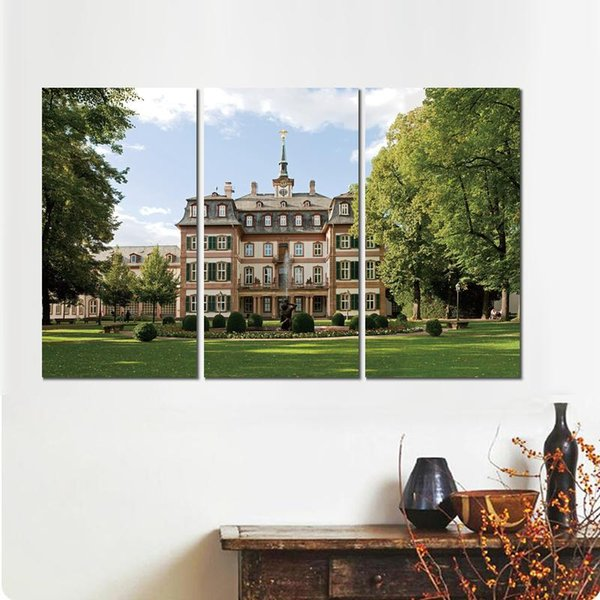 building fountain grass lawn trees view 3 sets canvas print painting wall pictures for room decor