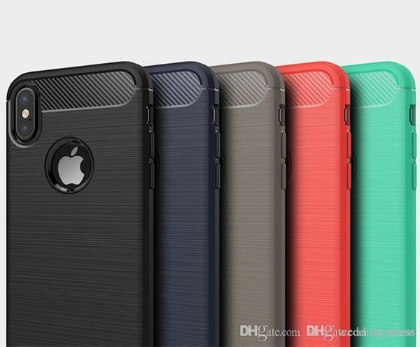 Étui robuste pour iphone XS MAX XR X 6 6S 7 8 Plus Samsung S8 S9 plus Note 9 anti-absorption des chocs en fibre de carbone Design TPU Cases Cover