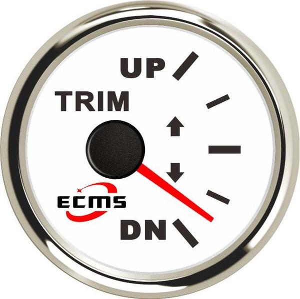 White Boat Trim Gauge 52mm//2in UP-DN Boat Trim Gauge 0-190ohm Signal Trim Tilt Indicator Red Backlight