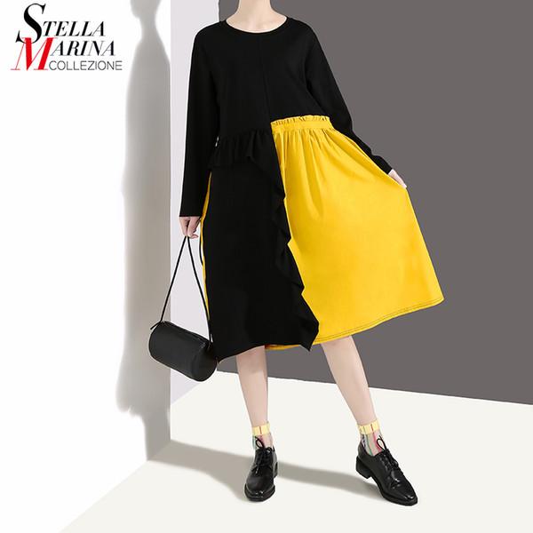 Nuevo 2019 mujeres del estilo coreano remiendo negro vestido de primavera de manga larga de las señoras desgaste lindo Midi Casual vestidos sueltos Robe Femme 4670