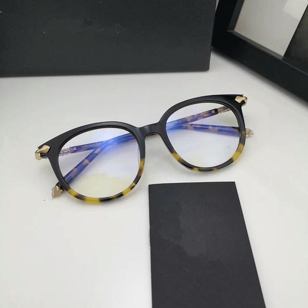Lunettes de soleil rondes de haute qualité CHBlu Retro-vintage unisexe 49-19-143 pour lunettes de vue importées de pure planche avec un étui complet