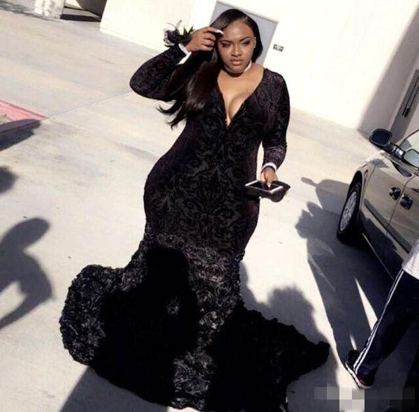 2019 Negro Tallas grandes Vestidos de noche Mangas largas Apliques Flores hechas a mano Sirena Por encargo Cuello en V formal Vestido de fiesta de graduación