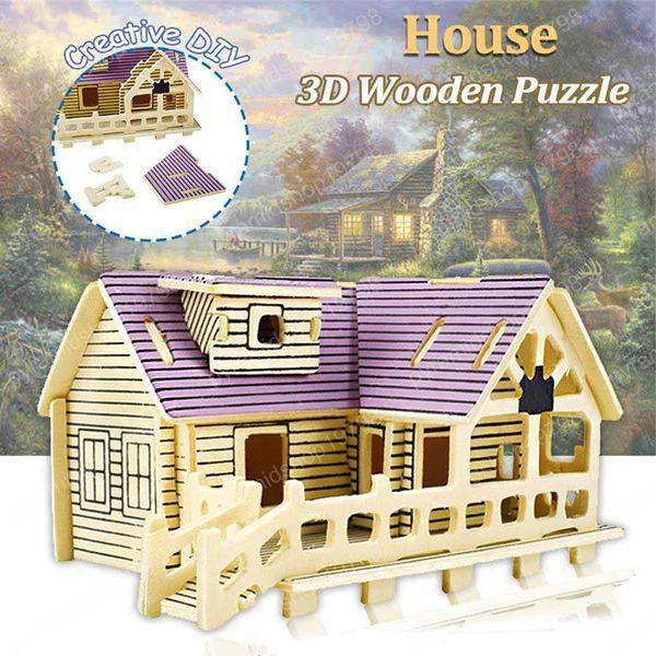 3D rompecabezas de madera de DIY mano-montaje de la casa modelo juguetes educativos para los regalos de niños que construyen el rompecabezas de madera creativo cumpleaños