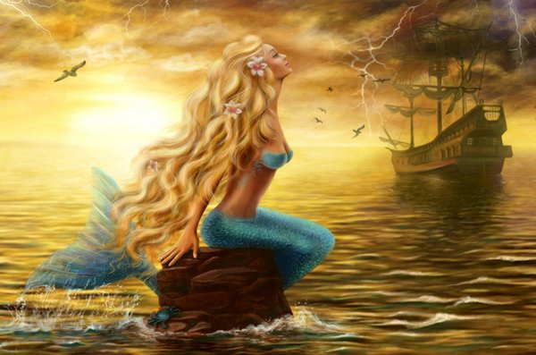 Modern Art Picture Best gift mermaid and the pirate ship Seascape Oil painting Printed on canvas Living Room Bedroom Home Decor Ship28