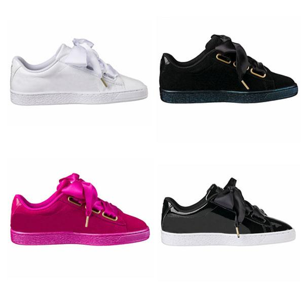 Fashion casual shoe suede basket heart satin black white pink flat shoes silk banded bow tie goddess Bowknot Skate Shoes