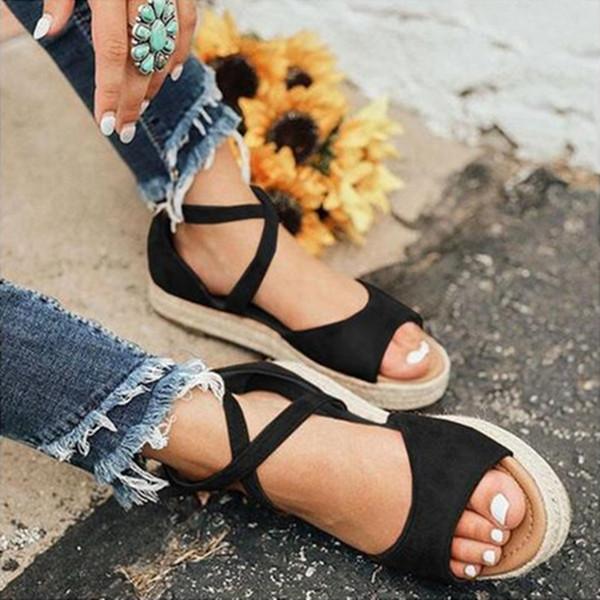 2019 Kadın Sandalet Gladyatör Peep Toe Toka Tasarım roma sandalet Kadınlar Düz Ayakkabı Yaz Plaj Bayanlar Ayakkabı