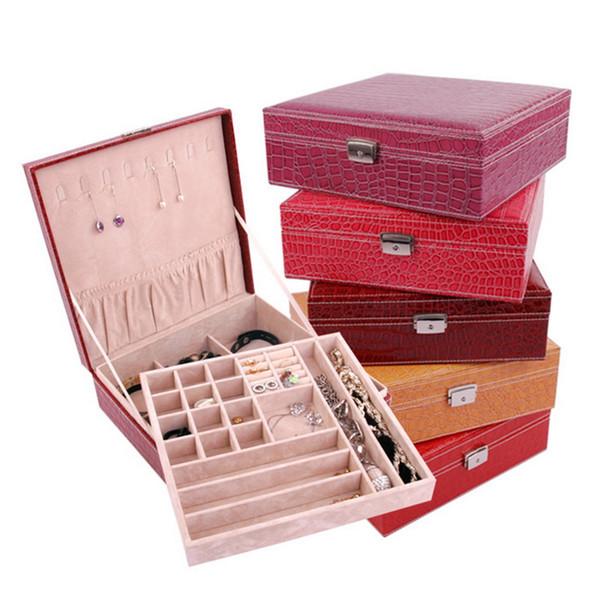DOZZLOR Large Capacity Girls Earring Bracelet Casket Leather Jewelry Box For Women Earring Ring Organizer Makeup Storage