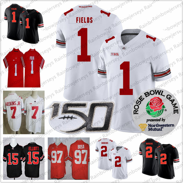 2019 Ohio State Buckeyes # 1 Justin Fields # 2 JK Dobbins # 15 Elliott Nick Bosa Dwayne Haskins Jr. OSU Rose Bowl NCAA 150TH Camisetas de fútbol