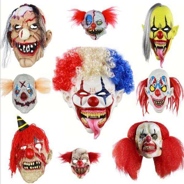9 styles 2019 NEW Joker Clown Costume Mask Creepy Evil Scary Halloween Clown Mask Adult Ghost Festive Party Mask Supplies Decoration