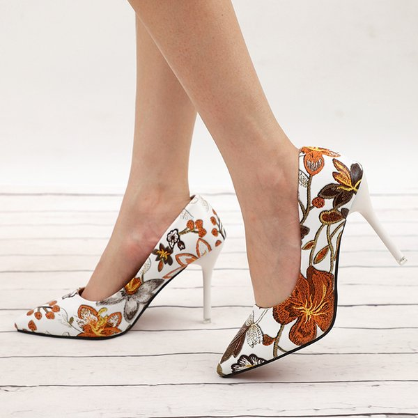 2019 Dress MCCKLE Women Sexy Pumps High Heels Floral Printing Shallow Slip On Pointed Toe Office Shoes Female Fashion Footwear