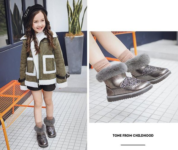 top popular Kids Sneakers Fashion Grey color Winter warm boots Newest comfortable 2019
