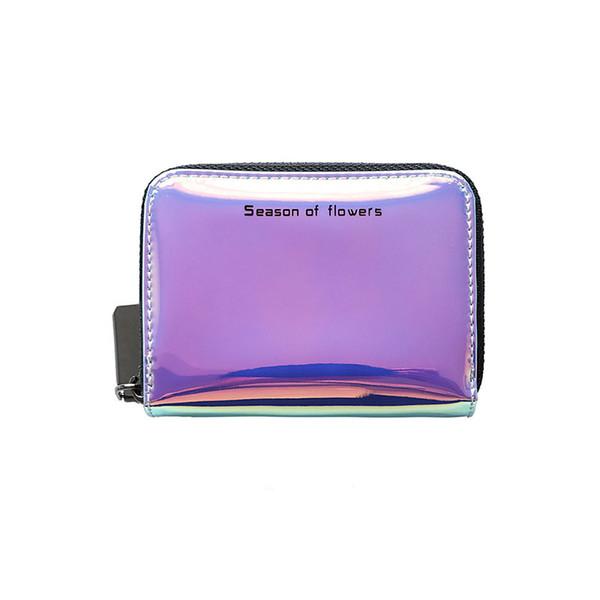 Laser hängen Hals Karte Tasche Frauen kompakte Brieftaschen 2018 neue koreanische niedliche Multi-Card Reißverschluss Geldbörse 11cmx8cmx2.5cm