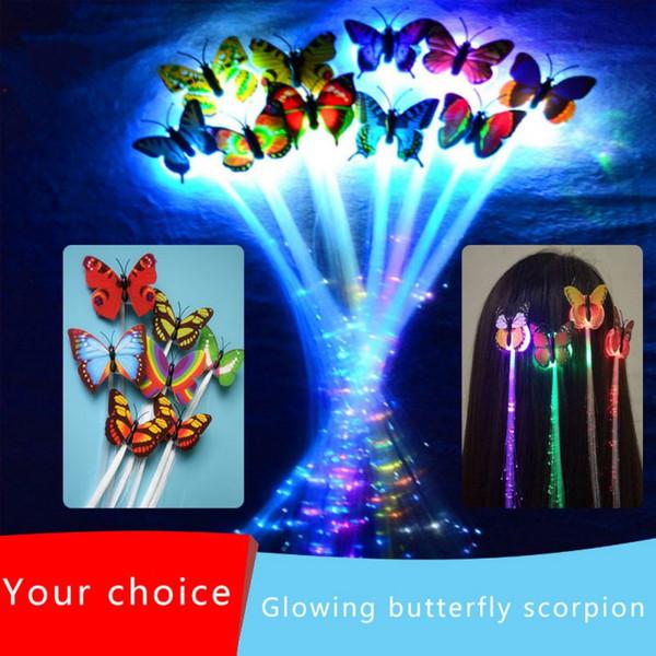 10pcs coloré lumineux Braid flash LED perruque tresse avec papillon clip pour Party LED Flash Light perruque cheveux clip Accessoires cheveux