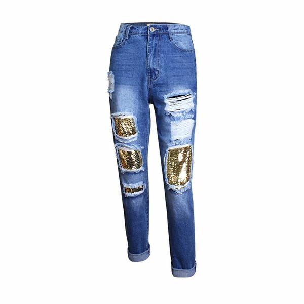 8ff139085 Compre Buraco Rasgado Boyfriend Jeans Para As Mulheres Hight Cintura  Lantejoulas Beading Azul Calças De Brim Rasgado Mulher Calças Calça Push Up  Femme Mujer ...