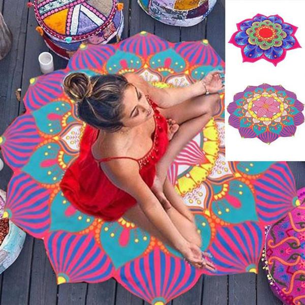 Serviette de plage ronde 150CM Mandala été serviette de plage indienne Lotu indienne impression Tapis de Yoga Tapis de sol ronde Gland Tapisserie Tapis Couverture de plancher GGA2198