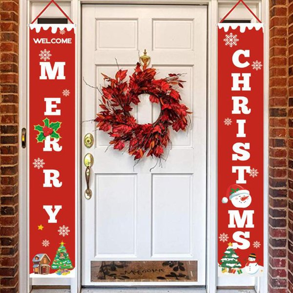 Merry Christmas Banners Front Door Welcome Christmas Porch Banners Red Porch Sign Hanging Xmas Decorations For Home Party Decor Buy Christmas