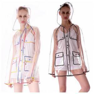 Transparent Edge Imperméable 2 Couleurs EVA Adultes Simple Imperméable Imperméable Manteaux De Pluie En Plein Air Randonnée Rainsuit Vêtements De Pluie OOA6171