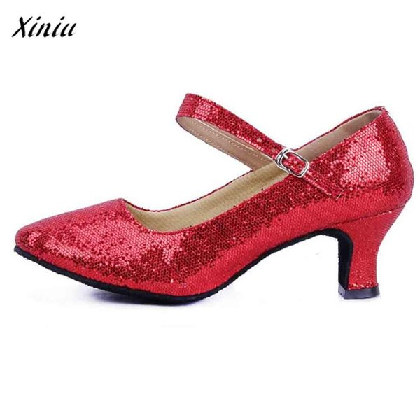 Dress Shoes Xiniu Buty Damskie Mid-high Heels Glitter Dance Women Ballroom Latin Tango Rumba Dance Zapatos De Mujer #a0126