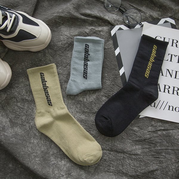 2019 дизайнер носки скейтборд мода мужская Письмо печати носки KANYE спортивные носки Носки хип-хоп Оптовая