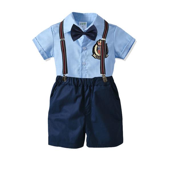 Aliex summer cotton men's treasure bow tie gentleman strap shorts short-sleeved shirt four-piece suit children's suit