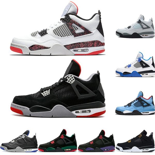 top popular HOT 2019 New Bred 4 4s IV What The Cactus Jack Laser Wings Mens Basketball Shoes Denim Blue Eminem Pale Citron Men Sports Designer Sneakers 2019