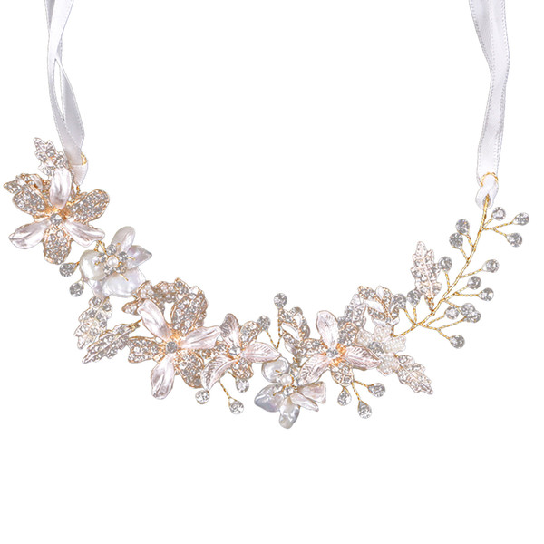 1pc Bridal Headband Leaves Flowers Shells Hair Jewelry Ribbon Hair Band Headwear Hair Accessories for Girls Women