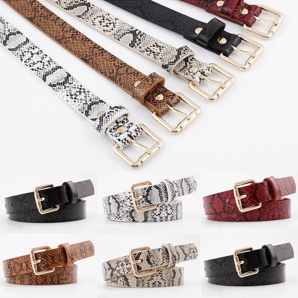 2019 Patrón de serpiente Cinturón fino Nuevo Pin de metal Cinturón de hebilla larga Vestido de mujer Cinturones decorativos Mujeres Correas de cuero de imitación Cintura