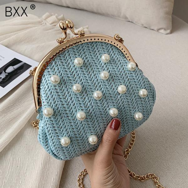 [BXX] Damen Umhängetasche mit einer Schulter Allgleiches Flap 2019 Summer Weaving Shell Package Weibliche Haspe Kette Pearl Tide HF195