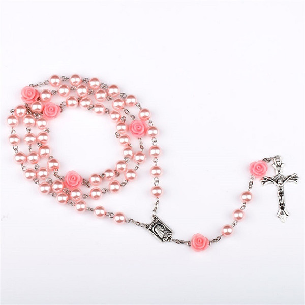 Pink Rose Rosary Jesus Cross Pendant Necklaces 6mm Beads Imitation Pearl Chain Statement Necklace Vintage Jewelry Christmas Gift for Women