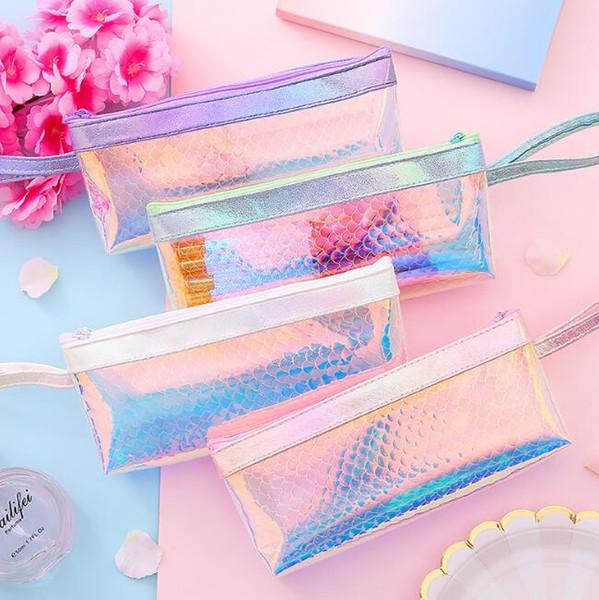 Láser lindo escala de peces bolsas de lápiz capacidad de lager maquillaje cosméticos bolsas de almacenamiento material de oficina de la escuela estudiantes papelería