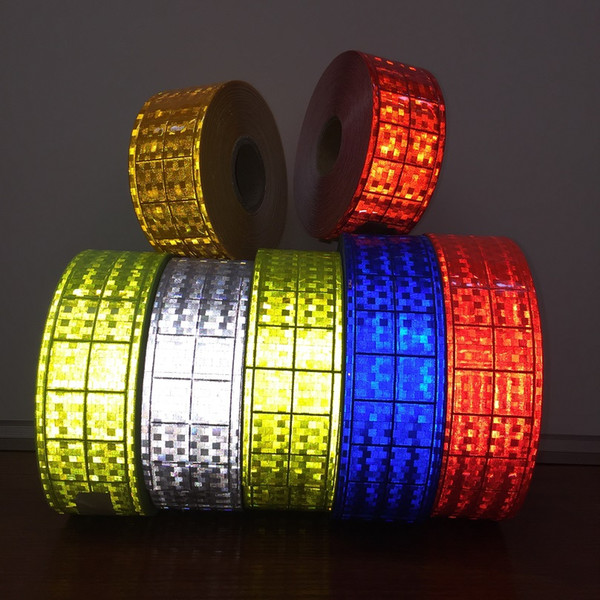 top popular 5CM*50M Microprism Polyvinyl Chloride Reflective Strip Small Square Flashing Reflective PVC Tape Accessories For Road Traffic Safety Apparel 2021