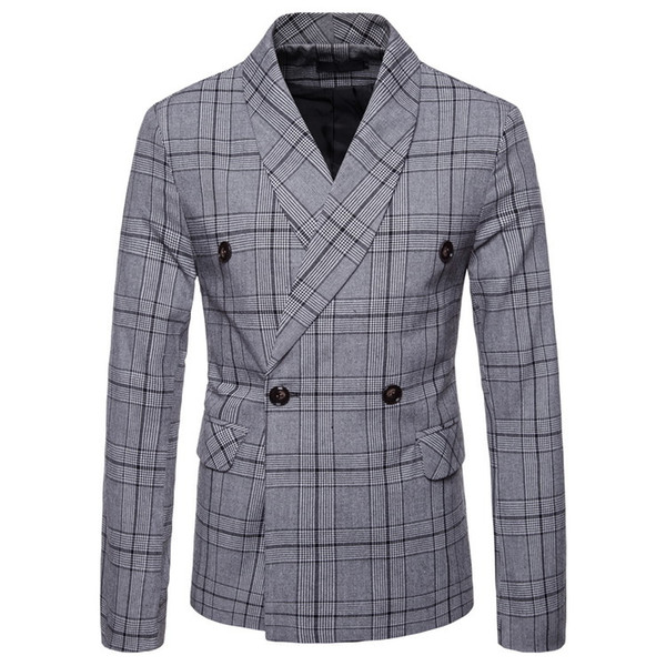 Korean Men's Casual Slim Korean Fashion Double-breasted Suit Jacket Spring New Business Plaid Small Suit