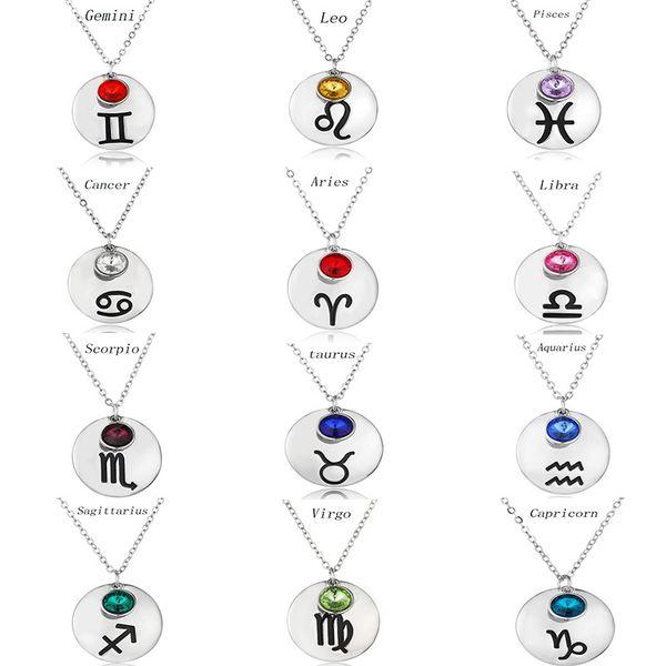 Collar de cadena cristalino colorido Gargantilla de Símbolos muchachas de las mujeres Constelación regalo del encanto de gota cuelga el colgante Collares