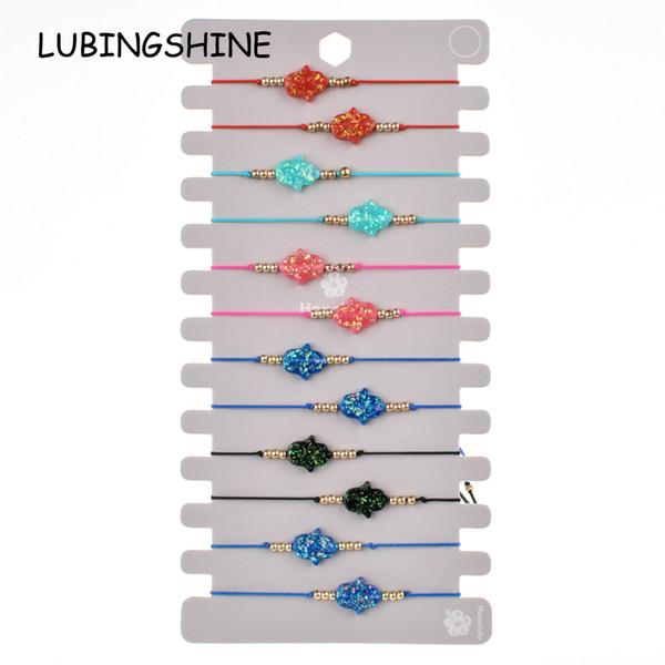 12pcs / set donne acrilico fatima mano braccialetto tessuto corda regolabile catena infinito amore charms cinturino braccialetto gioielli fatti a mano