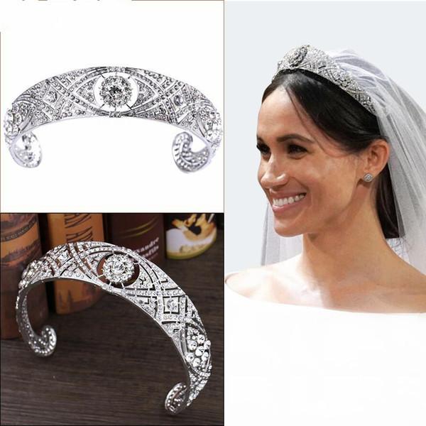 Prinzessin Harry Meghan Hochzeit Krone Vintage Kristall Braut Diademe Haar Stirnband Kopfschmuck Silber Königin Braut Pageant Kronen