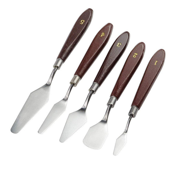 5PCS Palette Knife Painting Stainless Steel Scraper Spatula Wood Handle Art Supplies for Artist Canvas Oil Paint Color Mixing