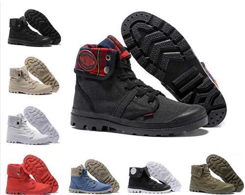 Designer Schuhe 14 Farbe PALLADIUM Pallabrouse Männer Hoch-Spitze Armee-Militär Ankle Boots Segeltuch-Turnschuhe Freizeitschuhe Mans Anti-Rutsch-Schuhe 30