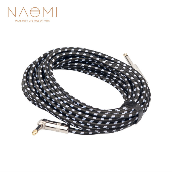 best selling NAOMI 6M Guitar Cable Audio Male To Male Cable Wire Cord Knitting Copper 6.35mm Straight Plug For Electric Instruments New