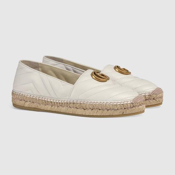 Chaussures de pêcheur au début du printemps Mocassins en cuir, chaussures espadrilles avec semelles en toile de paille Chaussures de sport tout-aller pour femmes Slip-on à usage quotidien