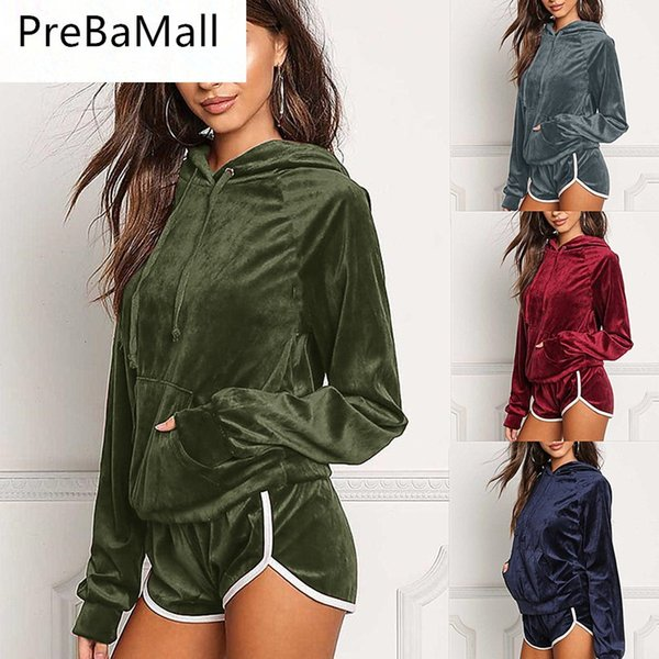 Velvet Tracksuit Two Piece Set Women Sexy Hooded Long Sleeve Top And Shorts Bodysuit Suit Runway Fashion 2019 C118
