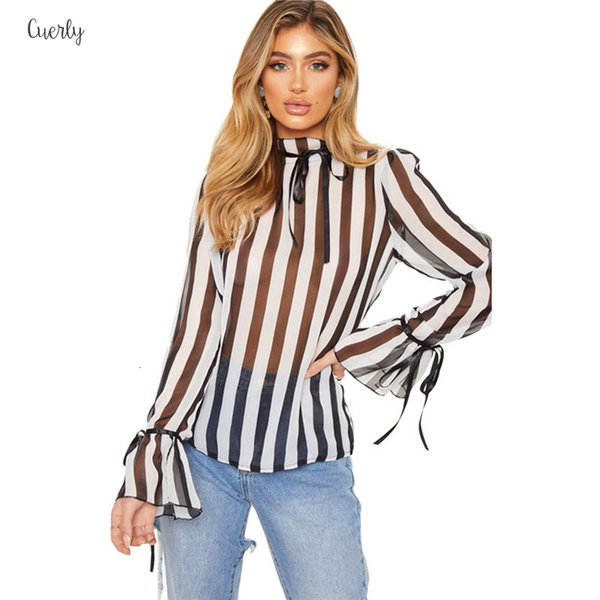 Print Shirt Blouses Womens Thin Striped Sexy Bow Perspective Loose Long Flare Sleeve Turtleneck Spring Autumn Shirts