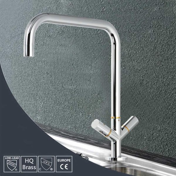Double Handle Kitchen Basin Faucet Chrome Modern Spout Sink Mixer Tap Solid Brass Tap Hot/Cold Water Purification