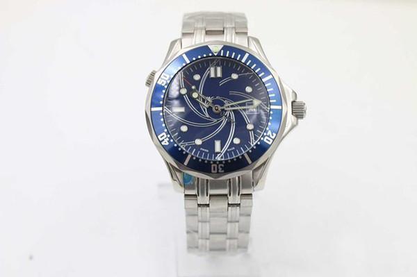 2019 Luxus automatische mechanische Kleid Armbanduhr James Band blaues Zifferblatt 007 voller Edelstahl Band Fall männliche Uhren