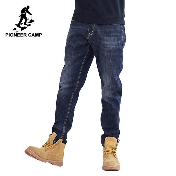 Pioneer camp de lã grossa quente jean men marca clothing outono inverno preto denim calças masculinas qualidade sólida calças anz710001 y190418