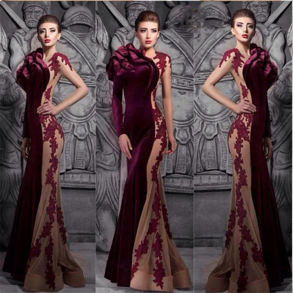 Burgundy hot sale mermaid velvet prom dresses 2019 winter fall sexy high neck court train formal evening gowns