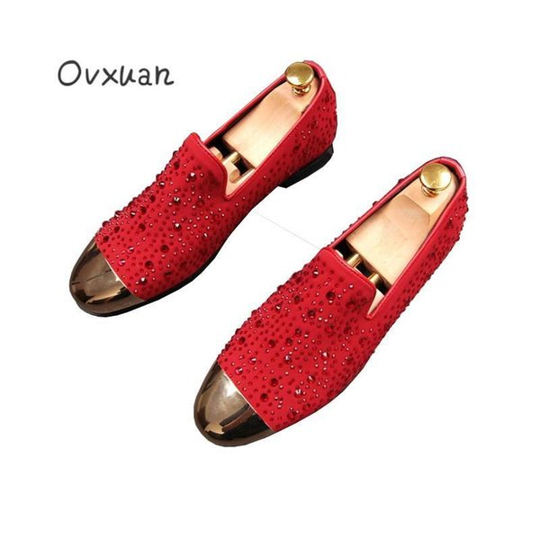 Italian Style Luxury Rhinestone Metal Top Mens Shoes Full Grain Leather Loafers Shoes Men White Wedding Prom Party Dress