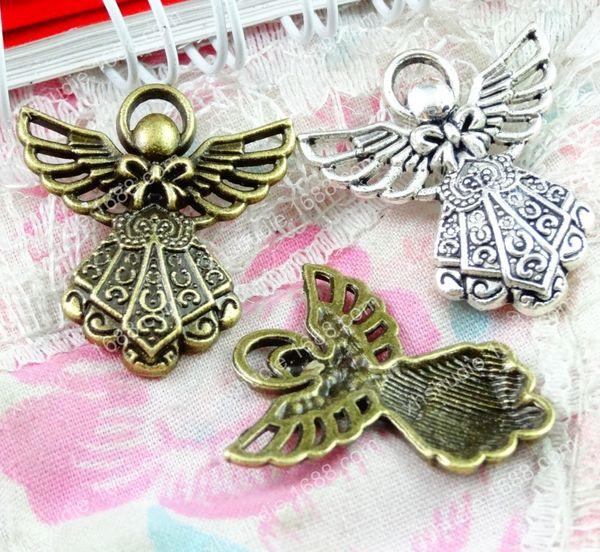 60pcs 23.3*26MM antique bronze tibetan silver angel fairy charms for bracelet vintage metal pendant earring handmade DIY jewelry making