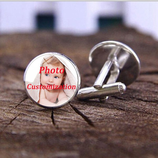 Personalized Custom Mens Shirt Cufflinks Photo of Your Baby Child Mom Dad Grandparent Loved One Gift for Family Glass Cufflinks