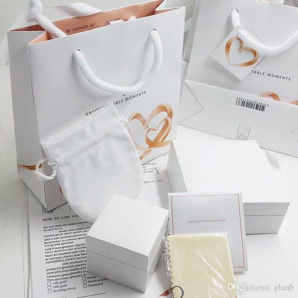 Super qualité Coeurs Amant boîtes de bijoux de mode emballage Ensemble charms Pandora Bracelet Argent Anneaux boîte originale Femmes sacs cadeaux
